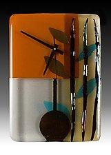 Cinnamon Bamboo Pendulum Clock by Nina  Cambron (Art Glass Clock)