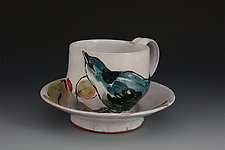 Cerulean Warbler Cup and Saucer by Eileen de Rosas (Ceramic Cup and Saucer)