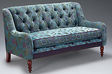 Windsor Settee in Aqua by Mary Lynn O'Shea (Upholstered Bench)
