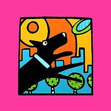 Black Frisbee Flyin' Pup by Anne Leuck  (Giclée Print)