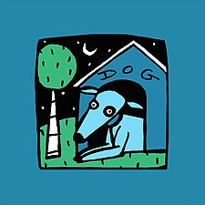 Blue Dog at Night by Anne Leuck  (Giclée Print)