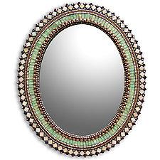 Jade Bronze Oval Mirror by Angie Heinrich (Mosaic Mirror)