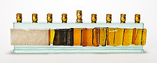 Menorah Western Wall Gala - Jerusalem Skyline by Alicia Kelemen (Art Glass Menorah)