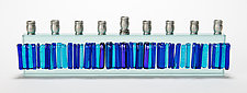Menorah Icicle Collection - Blue Skyline by Alicia Kelemen (Art Glass Menorah)