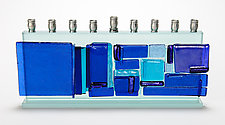 Western Wall Menorah - Blue Mosaic by Alicia Kelemen (Art Glass Menorah)