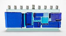Western Wall Menorah - Blue Mosaic by Alicia Kelemen (Art Glass Menorah)