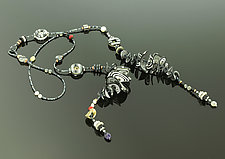 Petals Lariat in Black White Netural by Arden Bardol (Polymer Clay Necklace)