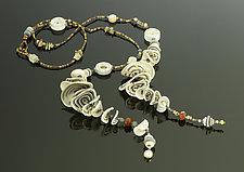 Petals Lariat in Beige Neutral by Arden Bardol (Polymer Clay Necklace)