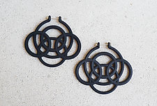 Loop Hoop III Earrings Black by Maria  Eife (Nylon Earrings)