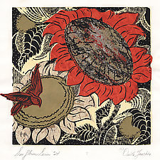 Sunflower Series, Number 24 by Ouida  Touchon (Woodcut Print)