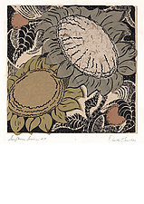 Sunflower Series, Number 27 by Ouida  Touchon (Woodcut Print)