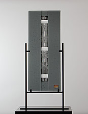 Mirror Matched Glass Panel in Grays, Black and White by Laurel Porcari (Art Glass Sculpture)