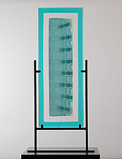 Strata Shift in Aqua Spread by Laurel Porcari (Art Glass Sculpture)