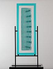 Strata Shift in Aqua Spread by Laurel Porcari (Art Glass Sculpture)