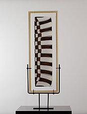 Strata Shift Spread in Vanilla and Bronze by Laurel Porcari (Art Glass Sculpture)