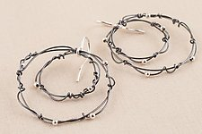 Black Silver Nested Twisted Ring Earrings by Kathy Frey (Silver Earrings)