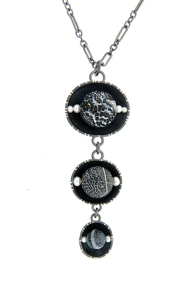 Oxidized Triple Cup Pendant with Fire Agate and Pearls