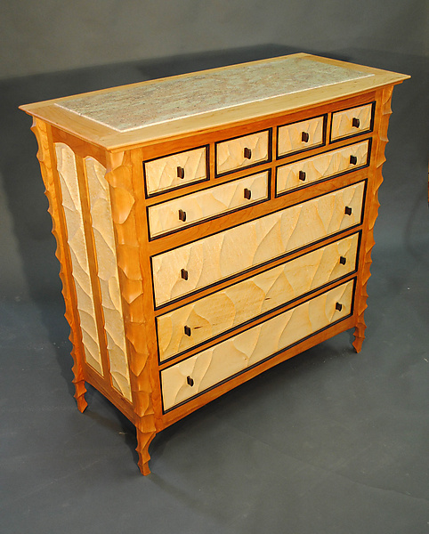 Sculpted Cherry and Granite Dresser