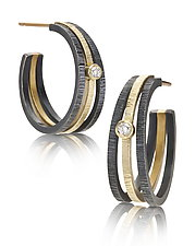 Gold and Silver Hoops with Diamond by Giselle Kolb (Gold, Silver & Stone Earrings)