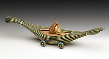 Papyrus Totem Boat by Dona Dalton (Wood Sculpture)