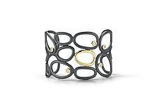 Trellis Cuff Bracelet by Dana Melnick (Gold, Silver, & Stone Bracelet)