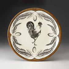 Rooster Large Round Platter by Laura Zindel (Ceramic Platter)