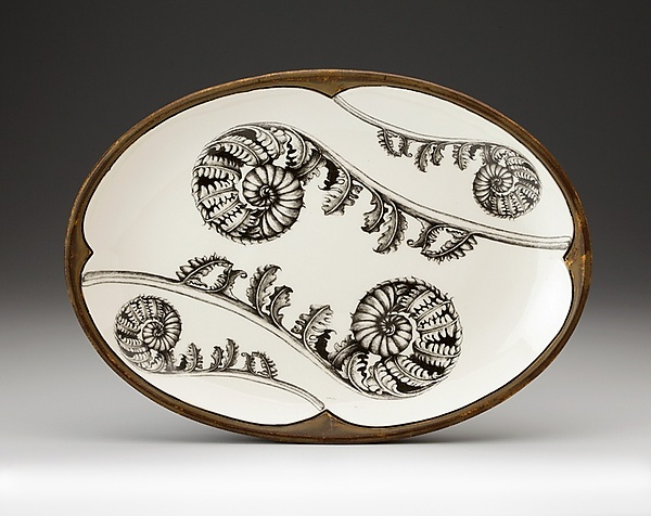 Coiled Wood Fern Small Oval Platter