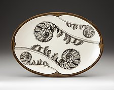 Coiled Wood Fern Small Oval Platter by Laura Zindel (Ceramic Platter)