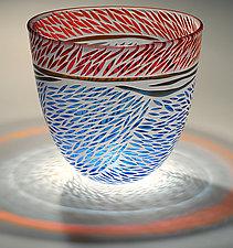 Cranberry Blue Rice Bowl by Jim & Renee Engebretson (Art Glass Bowl)