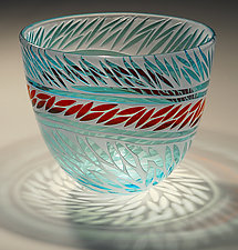 Teal with Red Rice by Jim & Renee Engebretson (Art Glass Bowl)