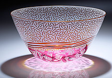 Cranberry and Gold Rice with Leaves by Jim & Renee Engebretson (Art Glass Bowl)