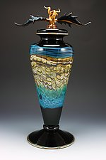Black Opal Footed Vessel with Avian Finial by Danielle Blade and Stephen Gartner (Art Glass Vessel)