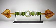 Lime and Tangerine Austral with Ring and Sphere Inclusions by Danielle Blade and Stephen Gartner (Art Glass Sculpture)