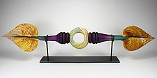 Amethyst and Sage Austral with Ring Inclusion by Danielle Blade and Stephen Gartner (Art Glass Sculpture)