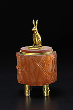 Rabbit Box by Georgia Pozycinski and Joseph Pozycinski (Art Glass & Bronze Sculpture)
