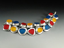 18 Piece Traffic Light Bracelet by Amy Faust (Silver & Glass Bracelet)