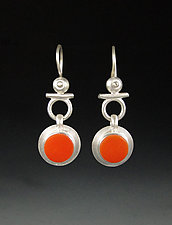 Isis Earrings in Tangerine by Amy Faust (Art Glass & Silver Earrings)