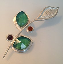 Flower Pin by Amy Faust (Silver & Glass Pin)