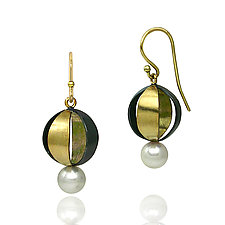 Spherical Earrings by Keiko Mita (Gold, Silver, & Pearl Earrings)