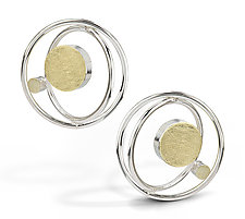 Floating Dot Earrings by Elizabeth Garvin (Gold & Silver Earrings)