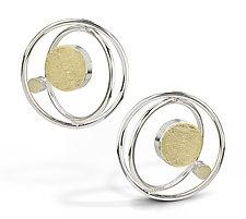 Floating Dot Earrings by Elizabeth Garvin (Gold & Silver Earrings)