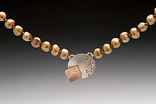 Pearl Necklace with Sterling Silver and Mokume Disc by Louise Norrell (Silver & Pearl Necklace)