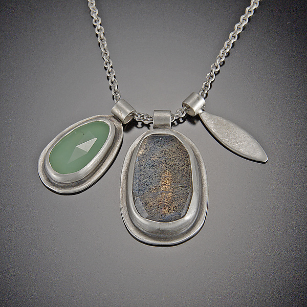 Rose Cut Labradorite and Chrysoprase Leaf Charm Necklace