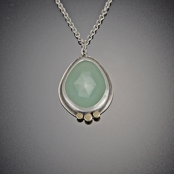 Rose Cut Chrysoprase Necklace with Gold Dots