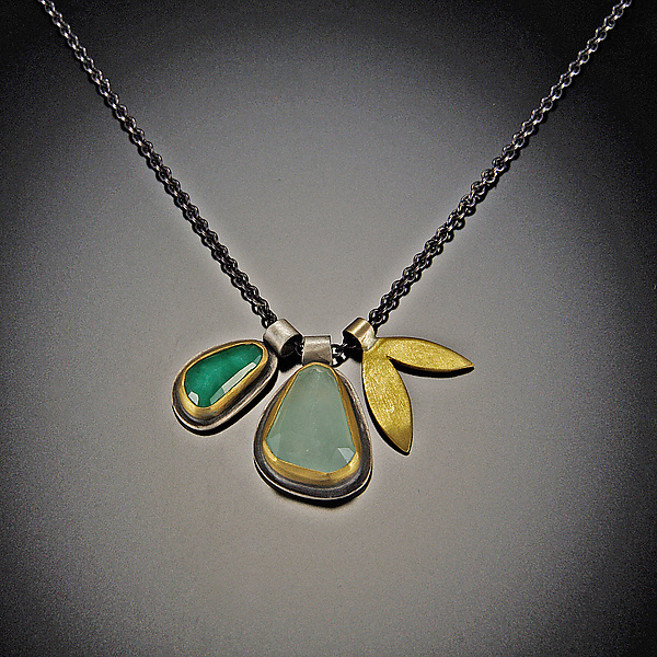 Rose Cut Emerald and Aquamarine Leaf Charm Necklace