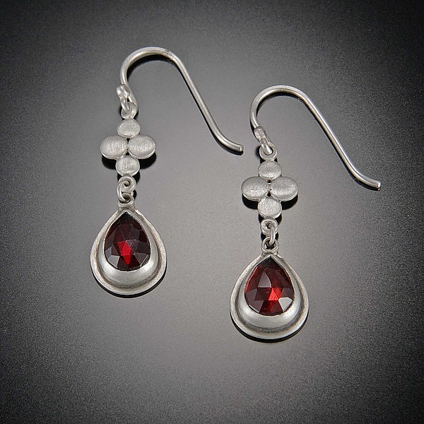Rose Cut Garnet and Small Disk Earrings