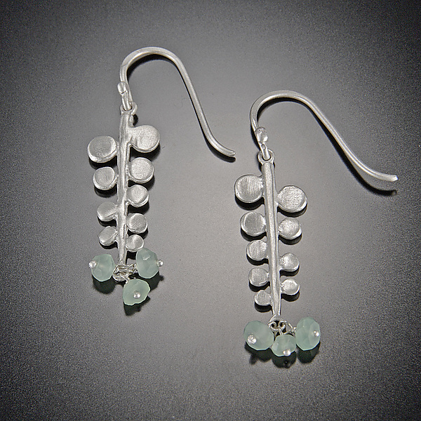Small Fern Earrings with Chrysoprase Clusters