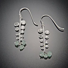 Small Fern Earrings with Chrysoprase Clusters by Ananda Khalsa (Silver & Stone Earrings)