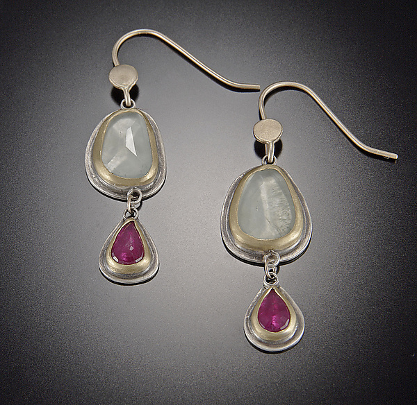Aquamarine and Ruby Earrings