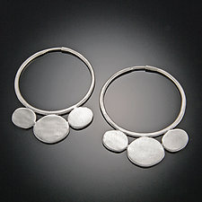 Large Disk Hoop Earrings by Ananda Khalsa (Silver Earrings)